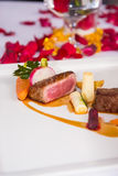 Medium rare of beef tenderloin roasted vegetable Stock Photography