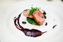 Medium rare duck breast Royalty Free Stock Images