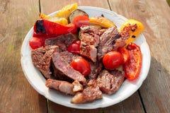 Medium Rare Fried Steak With Vegetables On Plate Stock Photos