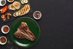 Medium rare Grilled T-Bone Steak Stock Image