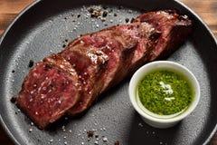 Medium Rare Skirt steak in a pan Royalty Free Stock Image