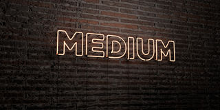MEDIUM -Realistic Neon Sign on Brick Wall background - 3D rendered royalty free stock image. Can be used for online banner ads and direct mailers royalty free illustration