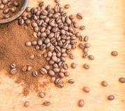 Medium Roast Fine Grinding Coffee and Whole Grains Stock Photo