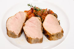 Medium roasted pork fillet Royalty Free Stock Images