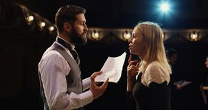 Actors rehearsing in a theater stock photography
