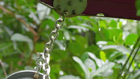 A medium shot of chain. A medium shot of a chain with rain and a leafy background stock video
