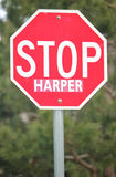 Medium shot of a Common Stop Sign Used to Stop Canadian Conservative leader Stephen Harper Royalty Free Stock Photography