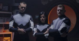 Martian base crew posing for camera