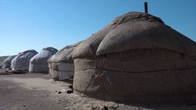 A few yurt covered in sheets