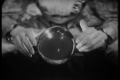 Medium shot of  fortune teller with crystal ball stock video footage