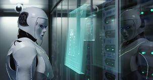 Humanoid robot working in a data center stock image