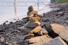 Medium Shot of a Inuit Inukshuk Stock Image