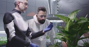 Scientists examining soil of Martian garden