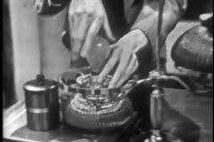 Medium shot of man repairing table lamp stock video