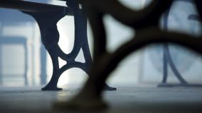 Metal chair with fog. A medium shot of a metal chair with fog stock video