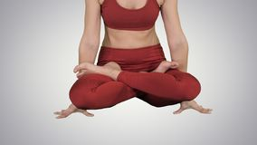 Sporty attractive woman practicing yoga, standing in Scale exercise, Tolasana pose on gradient background. royalty free stock image