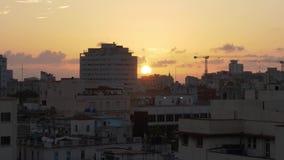 Medium Shot Sunset Over Havana Cuba. 8772 A medium establishing shot of the sun setting over Havana, Cuba stock video footage