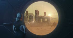 Woman enjoying view of Martian colony