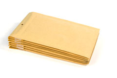 Medium size bubble lined shipping or packing envelopes Stock Photos
