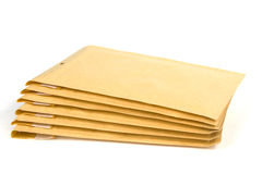 Medium size bubble lined shipping or packing envelopes Stock Photo