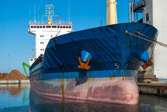 Cargo container ship in the harbor Royalty Free Stock Image