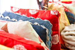 Medium-sized pile of oriental cushions Royalty Free Stock Images