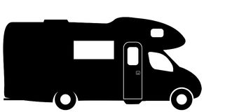 Medium RV Camper Van Silhouette. A medium sized RV camper van isolated on a white background stock illustration