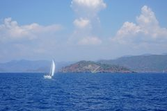 Blue or sea, bays of Fethiye, Mugla, Turkey stock image
