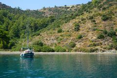 Blue sea yachts, bays of Fethiye, Mugla, Turkey stock images