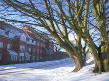 Medium snowfall in the neighborhood on a Winters day. Royalty Free Stock Photos