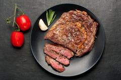 Medium Steak Ribeye. Top view. Medium rare grilled Steak Ribeye. Top view royalty free stock photo