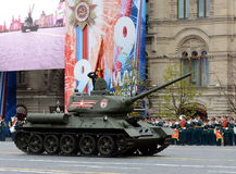 Medium tank T-34-85 with red flags on red square during a parade marking the 72nd anniversary of the Victory in the great Patrioti. MOSCOW, RUSSIA - MAY 09, 2017 Royalty Free Stock Images