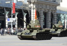 Medium tank T-34-85 during the rehearsal of the parade dedicated to the 70th anniversary of the Victory in the great Patriotic war Stock Images
