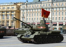 Medium tank T-34-85 during the rehearsal of the parade dedicated to the 70th anniversary of the Victory in the great Patriotic war Stock Photos