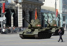 Medium tank T-34-85 during the rehearsal of the parade dedicated to the 70th anniversary of the Victory in the great Patriotic war Stock Image