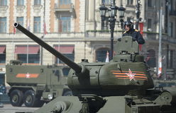 Medium tank T-34-85 during the rehearsal of the parade dedicated to the 70th anniversary of the Victory in the great Patriotic war Stock Photography