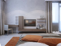 Medium taupe color wall system. In contemporary bedroom. 3D render Royalty Free Stock Photography