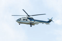 """Medium utility helicopter Eurocopter AS532U2 """"Cougar"""". Royalty Free Stock Image"""