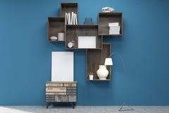 Medium vertical poster under bookshelves in blue room Royalty Free Stock Image