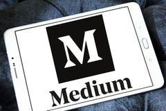 Medium website logo. Logo of Medium website on samsung tablet . Medium is an online publishing platform, owned by a Medium Corporation. The platform is an Stock Images