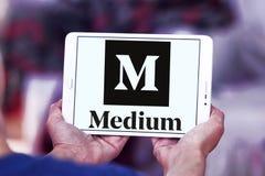 Medium website logo. Logo of Medium website on samsung tablet . Medium is an online publishing platform, owned by a Medium Corporation. The platform is an Stock Image