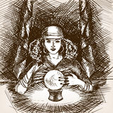 Medium woman with crystal magic ball sketch vector. Medium woman with crystal magic ball sketch style vector illustration. Old engraving imitation Royalty Free Stock Images