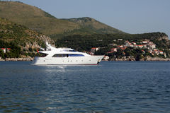 A medium yacht on the coast of Adriatic Sea. In Zaton (Croatia Stock Photo