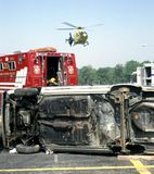 Medivac helicopter arrives at a accident stock image