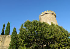 Medival castle tower among green trees. Castle of Rocca Pia, Tivoli, Rome. Fortificated wall and tower among the high green trees, clear ble sky. Medival castle Stock Images