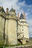 Medival castle towers in France. Medival castle walls. Chateau Royal, France. Castles in the valley of river Loire, les chateaux de la Loire. Fortificated wall Royalty Free Stock Photo