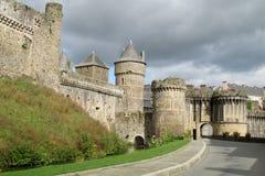 Medival castle walls in the city Stock Photos