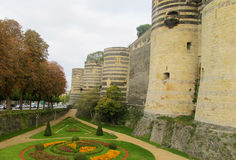 Medival castle walls and tower in Anger, France Stock Images