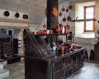 Medival Chateau Kitchen. Photo shows a kitchen used in a Chateau in the Loire Valley of France Royalty Free Stock Photos