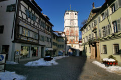 Medival City Gate 1. Several buildings of historic wangen, a small town in southern Germany Royalty Free Stock Photo